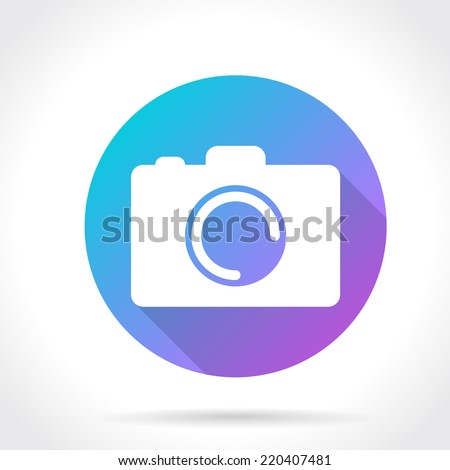 Flat Long Shadow Icon Of Photo Camera. Vector Illustration - stock vector