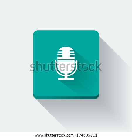 Flat long shadow microphone icon
