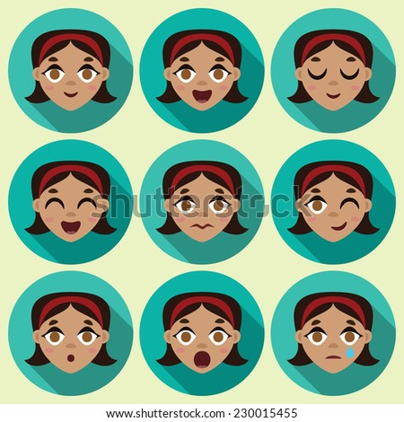 Flat long shadow round icons with human emotions. Vector set.  - stock vector