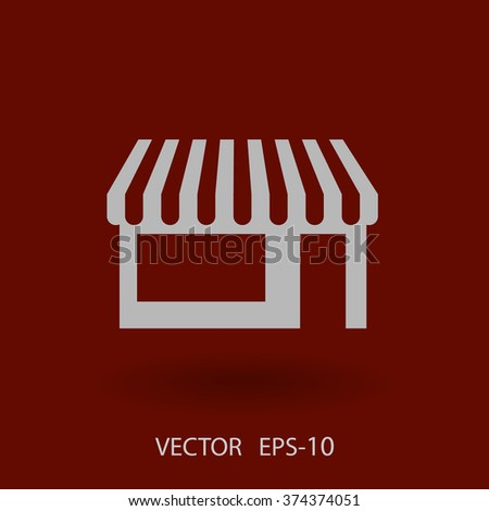 Flat long shadow Store icon, vector illustration - stock vector