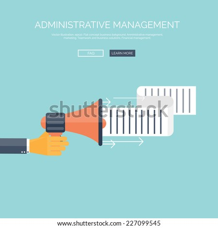 Flat loudspeaker icon. Administrative management concept. Business aims and solutions. - stock vector