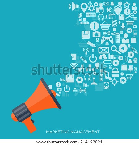 Flat loudspeaker icon. Administrative management concept. Global communication and social media. - stock vector