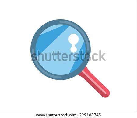 Flat loupe icon. Search, zoom or look, optic optimization tool object. Stock design element. Loupe logo. Loupe element. Loupe vector. Loupe icon. Loupe isolated on white background. Loupe illustration - stock vector