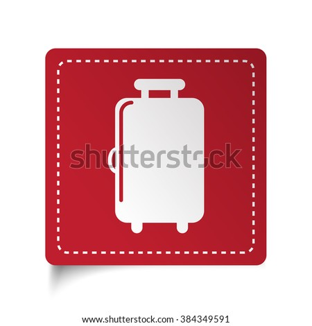 Flat Luggage icon on red sticker - stock vector