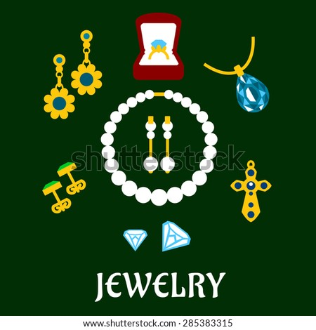 Flat luxury gold, diamond, pearl and sapphire jewelries isolated on background - stock vector