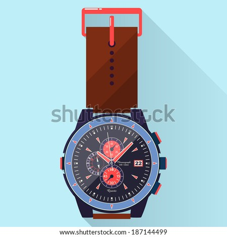 Flat luxury watches illustration on stylish, modern, colorful background. Time. Clock. - stock vector