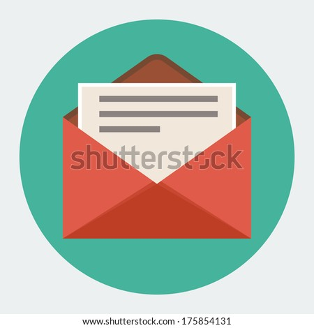 Flat mail icon - stock vector