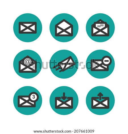 flat mail icons set. vector illustration. eps8 - stock vector
