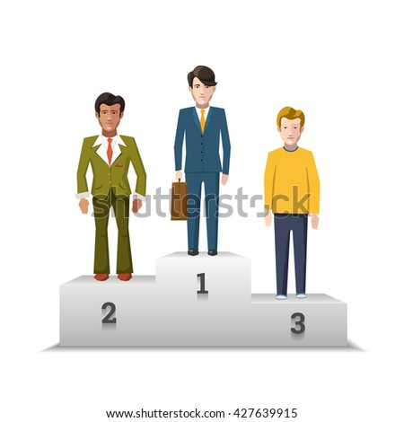 Flat male characters on white podium isolated on white