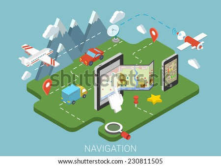 Flat map mobile GPS navigation infographic 3d isometric concept. Tablet, phone, digital map paper route pin markers. Aerial transport plane land car van satellite antenna receiver signal transmitter. - stock vector