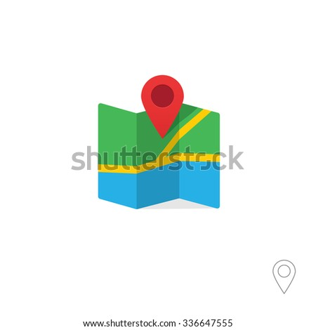 Flat marker pointer with map vector icon template design colorful. Modern plan pointer with map banner element. Navigation pin illustration with soft shadow. Outline style included. - stock vector