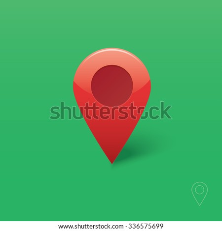 Flat marker vector icon template design in red colorful colors. Modern pointer logo element. Location map pin illustration with soft shadow on green background and brilliance. Outline style included. - stock vector