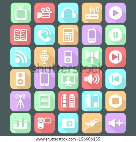 Flat media icons - stock vector