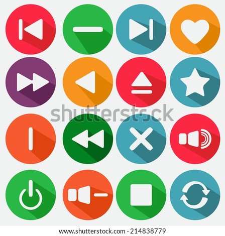 Flat media icons in white - stock vector