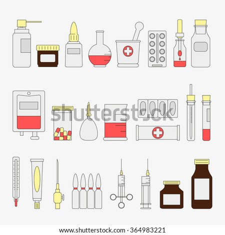 Flat medical and health care icon set. Medicine signs and symbols. Vector illustration. Equipment. Design elements collection.