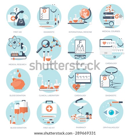 Flat medical background. Medicine and healthcare. First aid. - stock vector