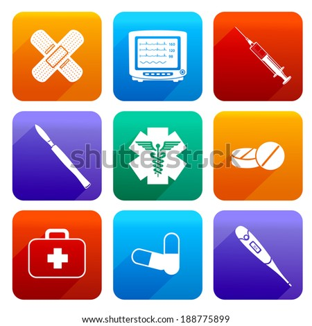 Flat medical emergency first aid care icons set with capsule sticking plaster scalpel isolated vector illustration