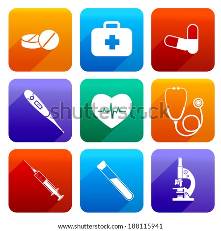 Flat medical emergency first aid care icons set with pill first kit heartbeat isolated vector illustration - stock vector