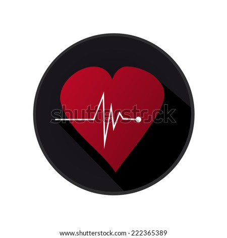 Flat Medical Heart Icon With Long Shadow