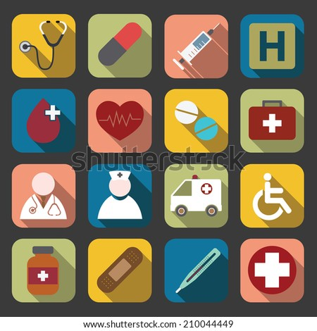 flat medical icons - stock vector