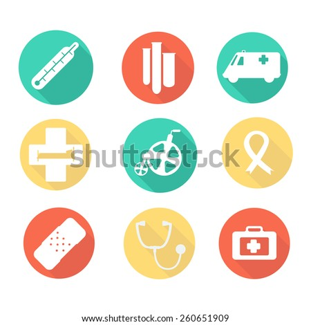 Flat medical icons white