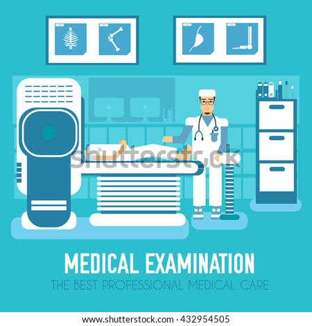 Flat medical MRI diagnostic technology scan with doctor in clinic. Vector design illustration  - stock vector