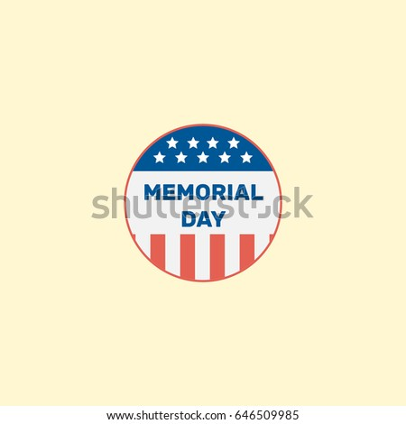 Flat Memorial Day Element. Vector Illustration Of Flat Usa Badge Isolated On Clean Background. Can Be Used As Usa, Memorial And Day Symbols.