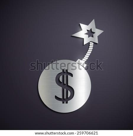 Flat metallic logo dollar sign. Vector image. - stock vector