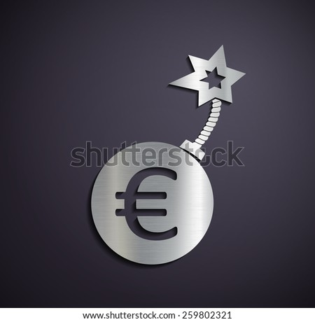 Flat metallic logo euro sign. Vector image. - stock vector