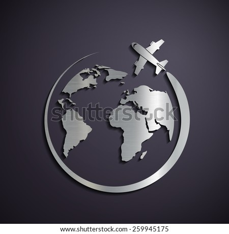 Flat metallic logo of the aircraft and the planet earth. Vector image. - stock vector