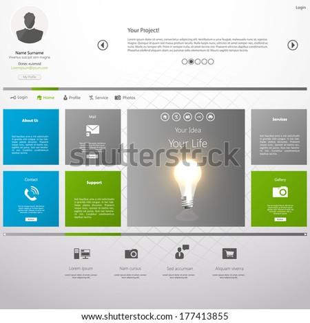 Flat Metro Web Design Template.  - stock vector