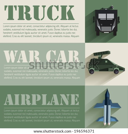 flat military transport set design concept. Vector illustration infographic - stock vector