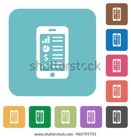 Flat mobile application icons on rounded square color backgrounds. - stock vector