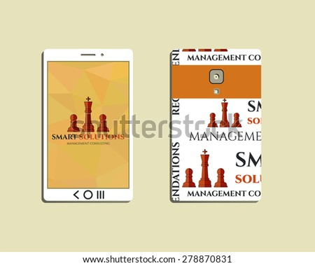 Flat Mobile device and smart phone. Chess Smart solutions design template with management Consulting keywords concept. With company logo. Best for management consulting, finance, companies. Vector - stock vector