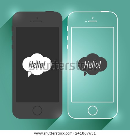 Flat Mobile Device Smartphone Mockup. Isolated Modern Cellphone. Vector EPS10 Concept Illustration Design - stock vector