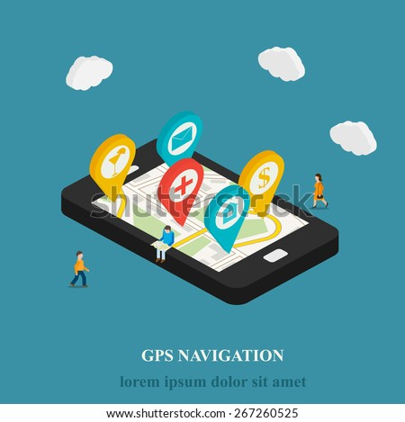 Flat mobile GPS navigation isometric concept. 3D smartphone with street map and pins. Micro people searching objects on map,  vector illustration - stock vector