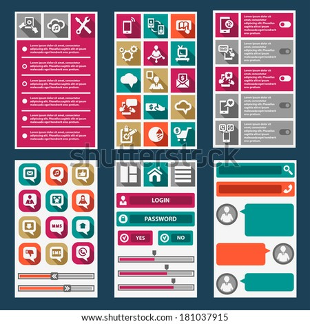 Flat Mobile Interface. Design Elements. - stock vector