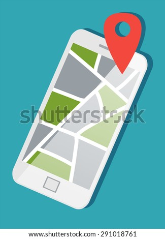 Flat mobile, map and pin. 3d isometric concept. - stock vector