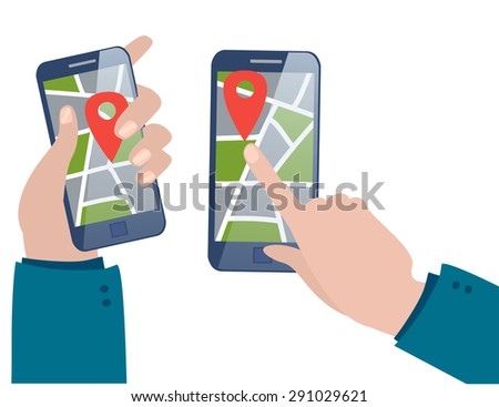 Flat mobile, map and pin. 3d isometric concept. Vector flat illustration - stock vector