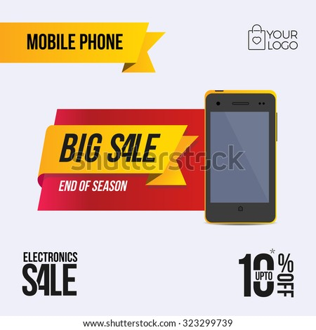 Flat Mobile Phone Discount coupon label banner - stock vector