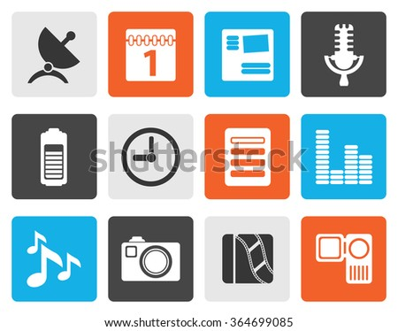 Flat Mobile phone performance icons - vector icon set - stock vector