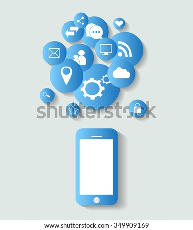 Flat mobile phone vector with social media icons blue, vector eps 10 - stock vector