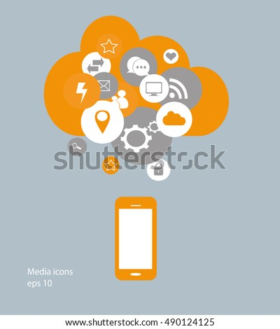 Flat mobile phone vector with social media icons, cloud computing
