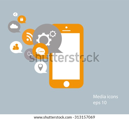 Flat mobile phone vector with social media icons, flat vector eps 10 - stock vector