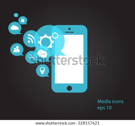 Flat mobile phone vector with social media icons neon eps 10