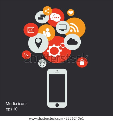 Flat mobile phone vector with social media icons, vector eps 10 - stock vector