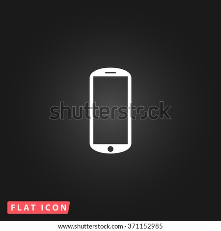 Flat mobile. White flat simple vector icon on black background. Icon JPEG JPG. Icon Picture Image. Icon Graphic Art. Icon EPS AI. Icon Drawing Object. Icon Path UI - stock vector