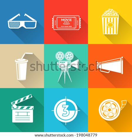 Flat modern cinema (movie) icons set with - cinema projector, film strip, 3D glasses, clapboard, popcorn in a striped tub, cinema ticket, glass of drink. - stock vector