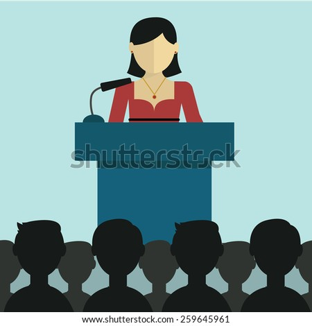 Flat modern design of Businesswoman  giving a presentation - stock vector