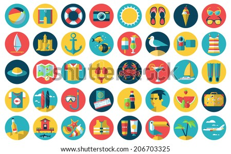 Flat modern design vector icons set of planning a summer vacation, traveling on holiday journey, tourism stuff and travel objects, passenger luggage and equipment.  - stock vector